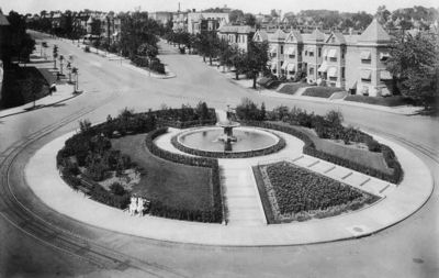 The historic Truxton traffic circle, gone since 1947