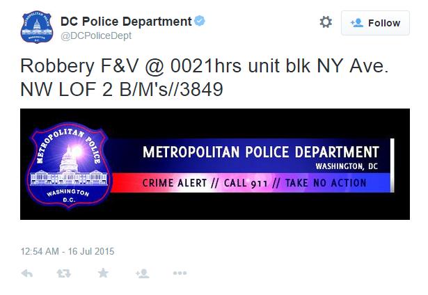 MPD tweet robbery 2015 07 16
