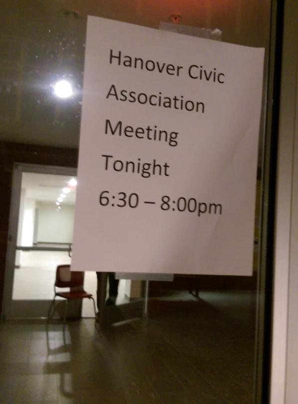 Hanover Civic Assn mtg signage 2016 01 20