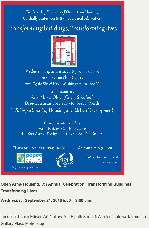 Open Arms Housing fundraiser 2016 09 21