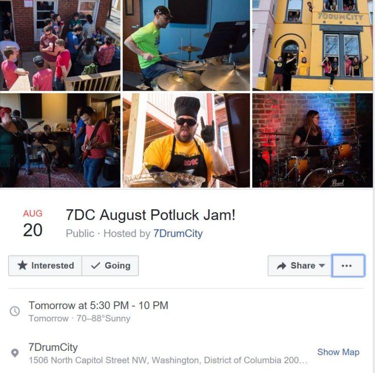 7DrumCity August potluck jam 2017 08 20 #1