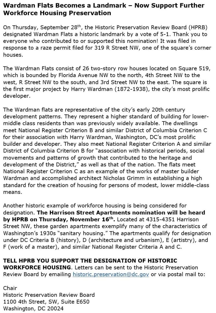 DC Preservation League Wardman Flats blurb 2017 10 24