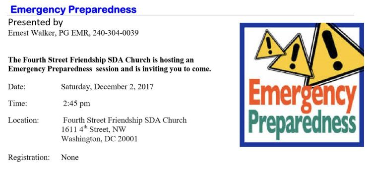 4th Street-Friendship SDA church emergency preparedness session 2017 12 02