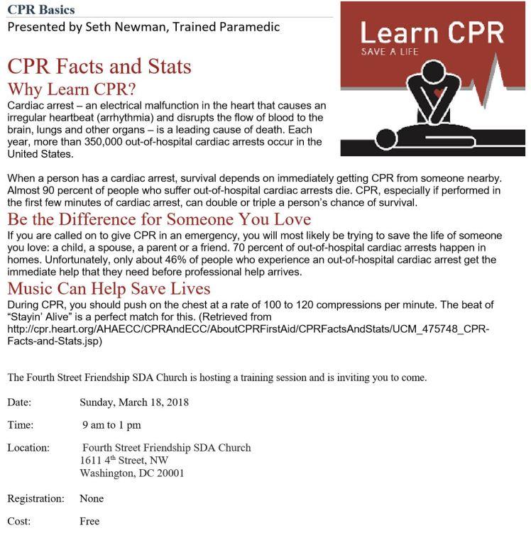 4th Street-Friendship SDA church CPR class 2018 03 18