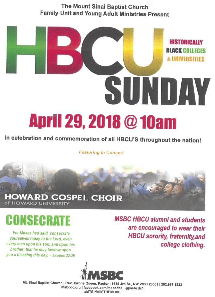 Mt Sinai Baptist Church HBCU 2018 04 29