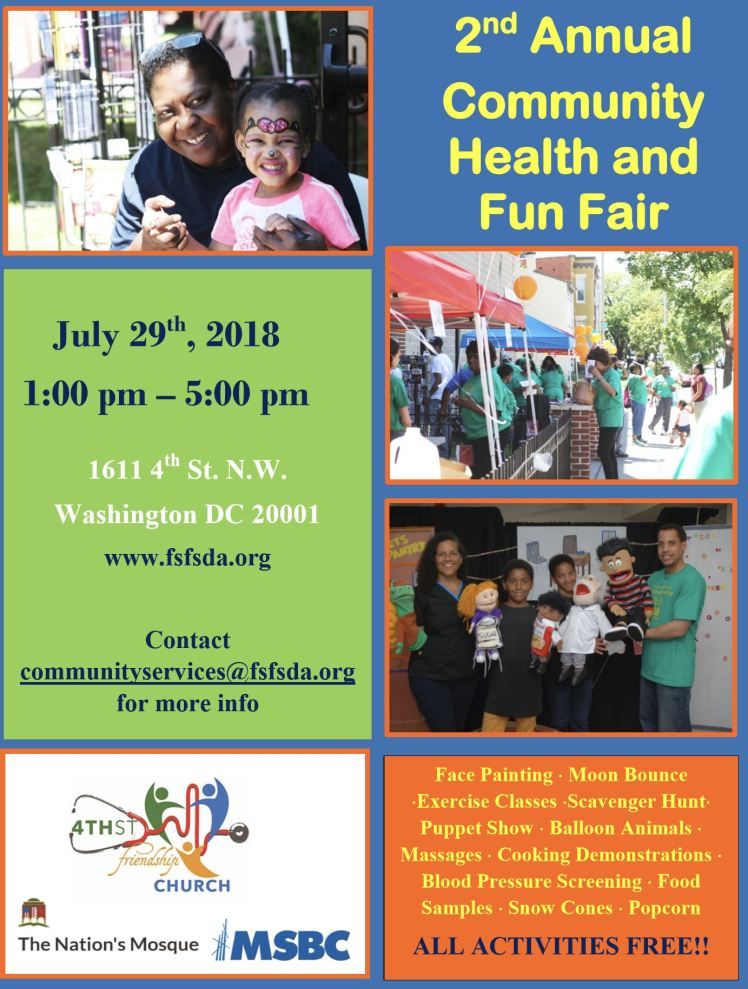 4th Street-Friendship SDA church Health Fair 2018 07 29 #1