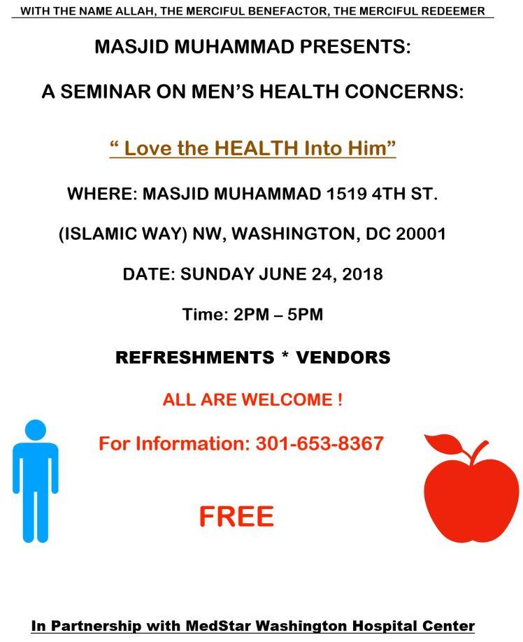 Masjid Muhammad Men's Health seminar 2018 06 24