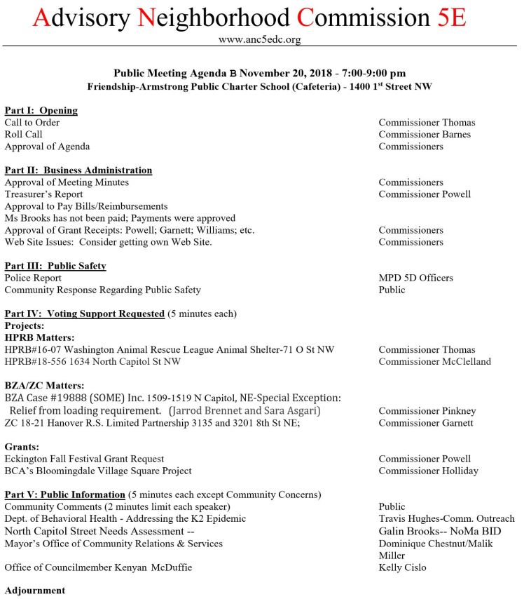 ANC5E meeting agenda 2018 11 13