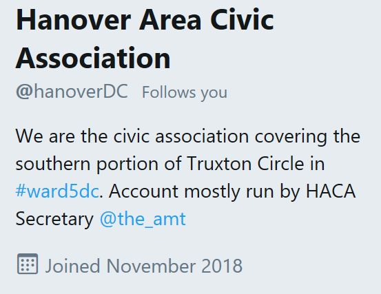 Hanover Area Civic Association Twitter 2018 11 23