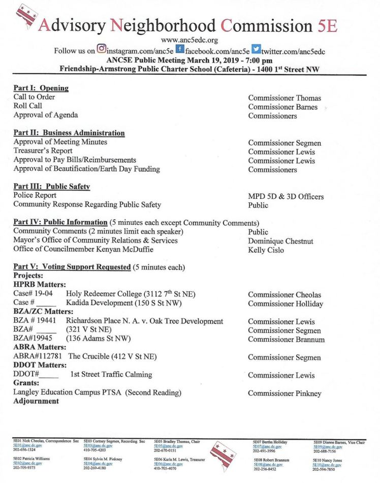 ANC5E meeting agenda 2019 03 19