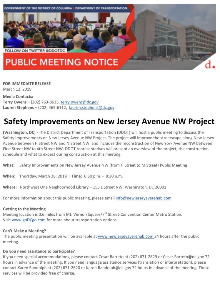 DDOT safety improvements on NJ Ave NW 2019 03 28