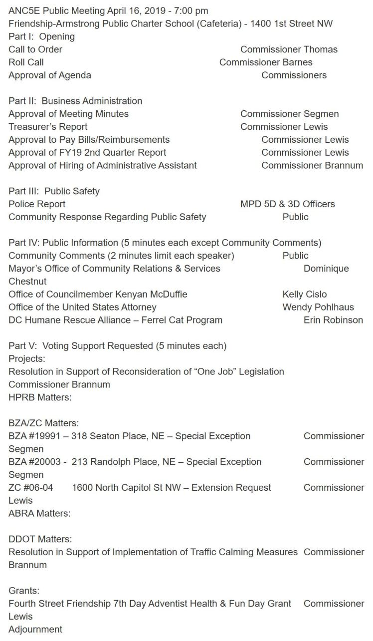 ANC5E meeting agenda 2019 04 16