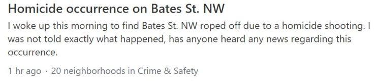 Bates St NW homicide NextDoor 2019 06 26