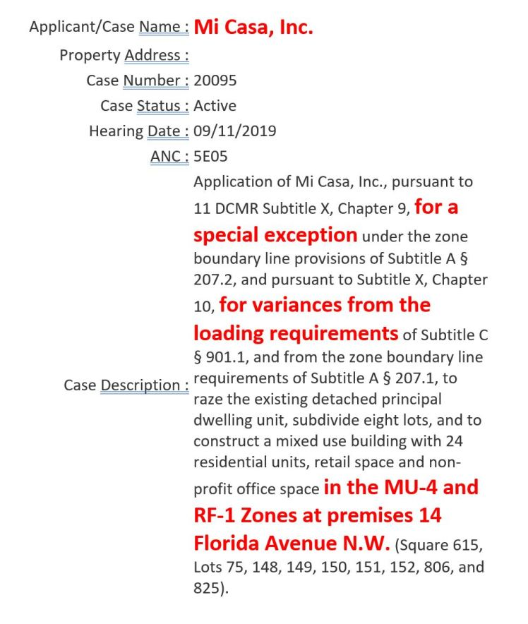 MiCasa BZA hearing date 2019 09 11