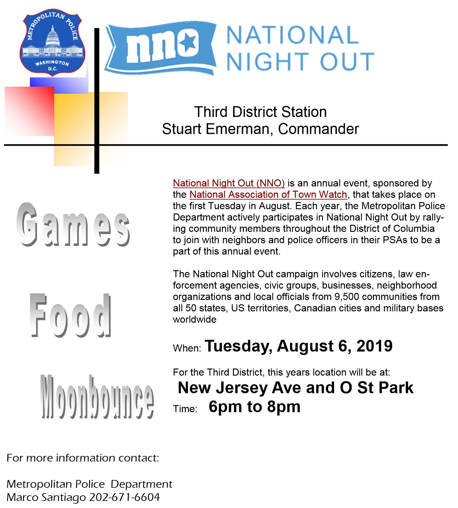Third District's National Night Out (NNO) to be held at New