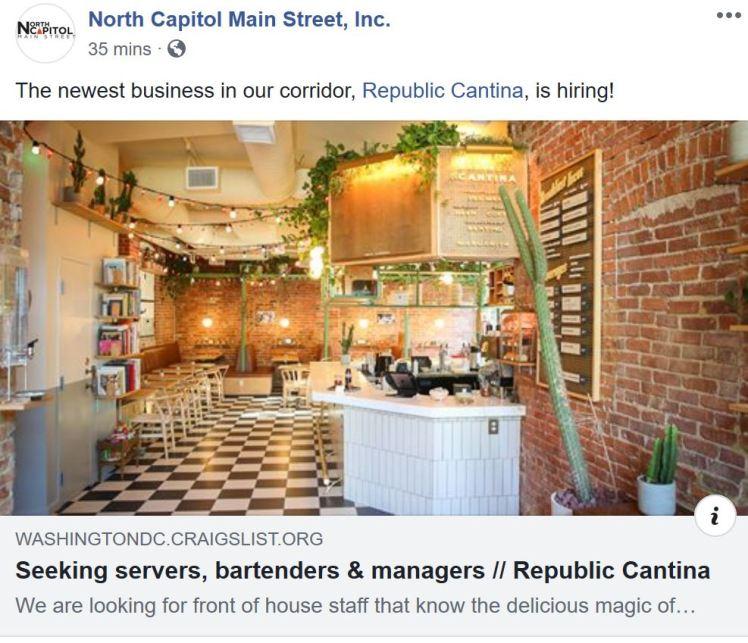 Republic Cantina now hiring 2019 07 25
