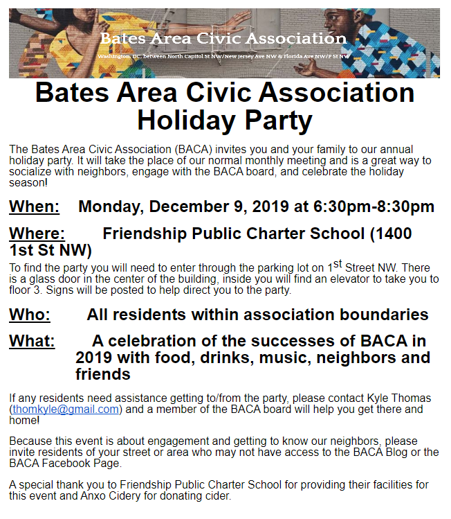 BACA holiday flyer